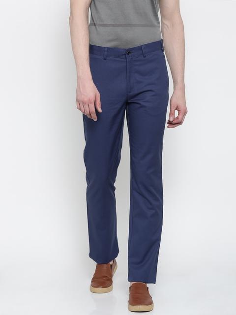 Park Avenue Men Blue Slim Fit Solid Regular Trousers