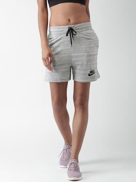 Nike Women Grey Self Design AS W NSW AV15 Sports Shorts