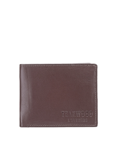 Teakwood Leathers Men Coffee Brown Solid Twofold Leather Wallet