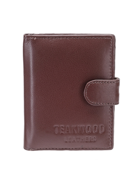 Teakwood Leathers Men Brown Leather Two Fold Card Holder