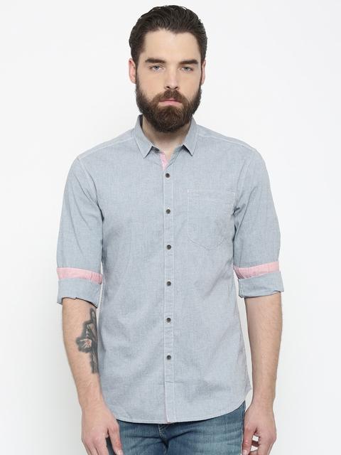 Lee Men Blue Slim Fit Solid Casual Shirt