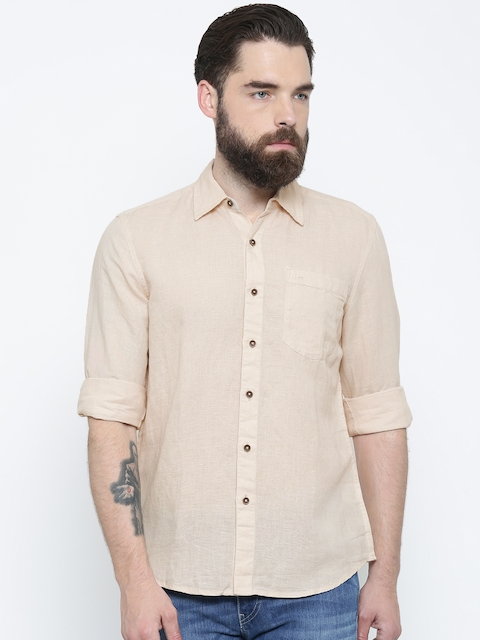 Lee Men Beige Slim Fit Solid Casual Shirt