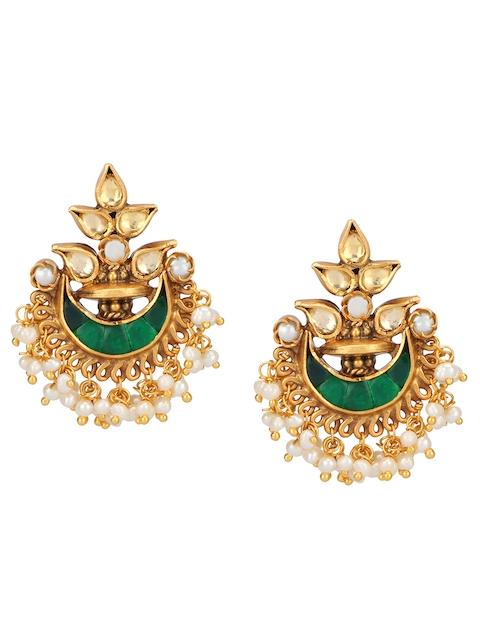 ahilya Green Gold-Plated Sterling Silver Chandbalis