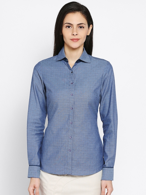 Park Avenue Woman Blue Self-Design Casual Shirt