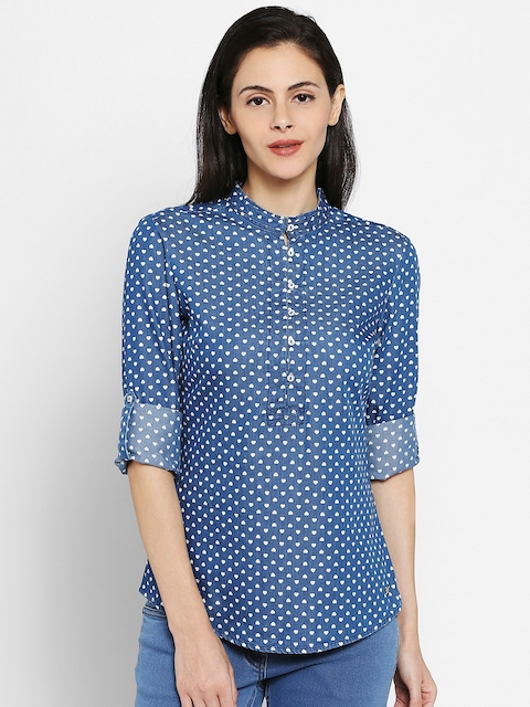 Park Avenue Woman Blue Printed Regular Fit Casual Shirt