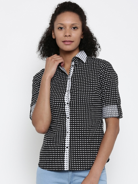 Park Avenue Woman Women Black & White Regular Fit Printed Casual Shirt