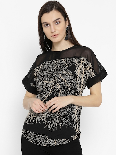 Park Avenue Woman Black & Beige Printed Top