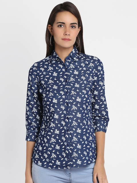 Park Avenue Woman Blue Regular Fit Printed Casual Shirt
