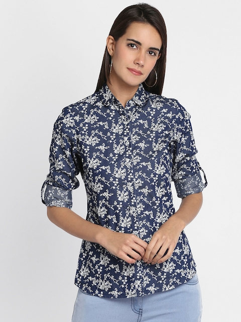 Park Avenue Woman Blue & White Regular Fit Printed Casual Shirt