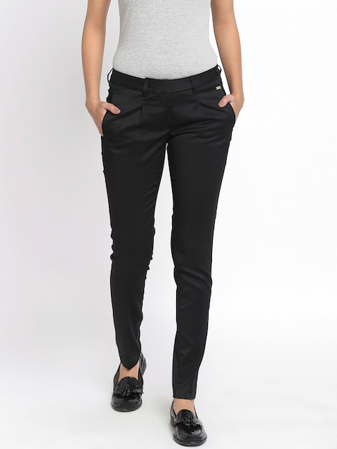 Park Avenue Woman Black Tapered Fit Formal Trousers