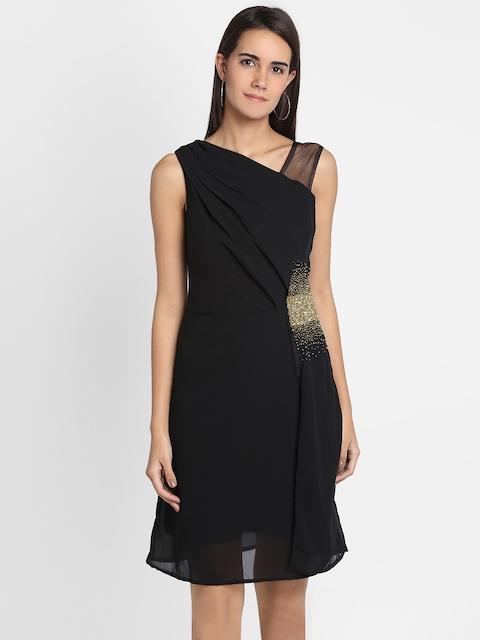 Park Avenue Woman Black Solid A-Line Dress
