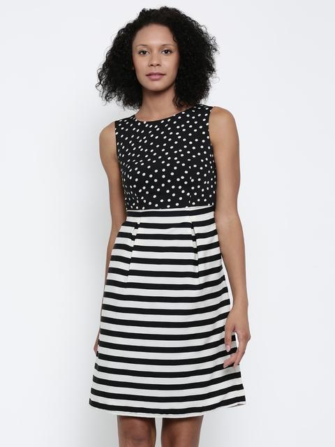 Park Avenue Woman Black & Off-White Striped A-Line Dress