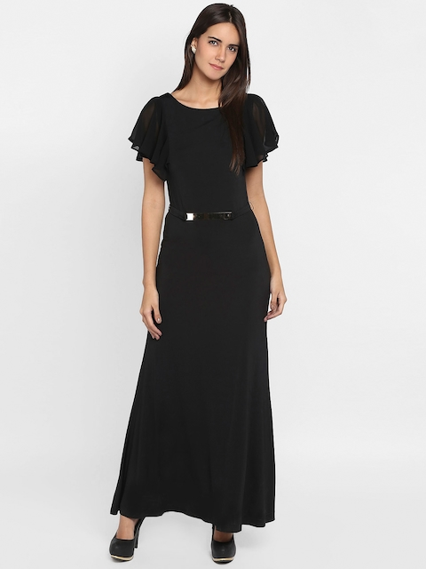 Park Avenue Woman Black Solid Maxi Dress