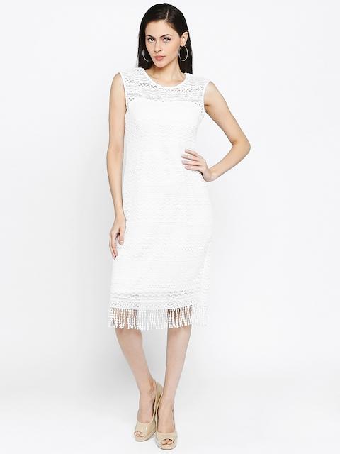 Park Avenue Woman White Self Design A-Line Dress