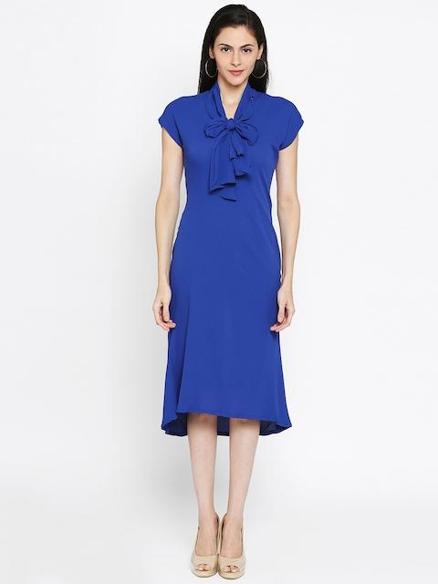 Park Avenue Woman Blue Solid A-Line Dress