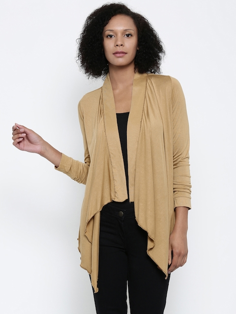 Park Avenue Woman Brown Solid Waterfall Shrug