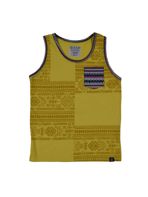 Gini and Jony Boys Mustard Yellow Printed Round Neck T-shirt