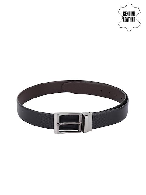 Alvaro Castagnino Men Black & Brown Genuine Leather Reversible Textured Belt