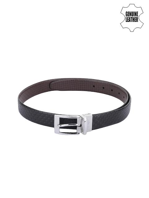 Alvaro Castagnino Men Black & Brown Genuine Leather Textured Reversible Belt