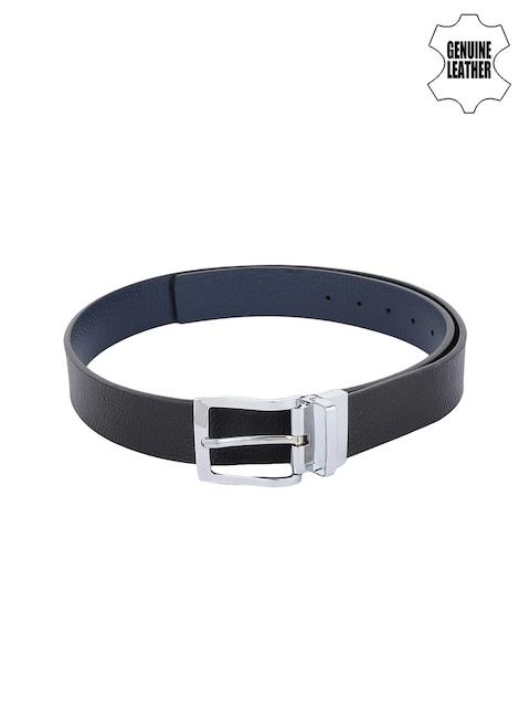 Alvaro Castagnino Men Blue & Black Genuine Leather Solid Reversible Belt