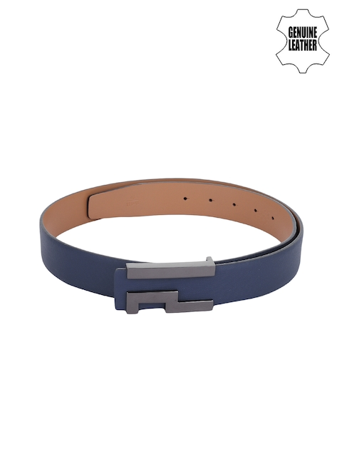 Alvaro Castagnino Men Blue Genuine Leather Solid Belt