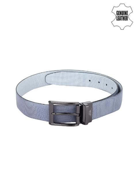 Alvaro Castagnino Men Blue Genuine Leather Printed Reversible Belt