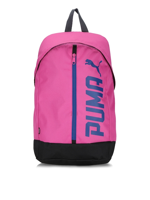 Puma Unisex Pink & Black Pioneer II Brand Logo Backpack  available at myntra for Rs.649