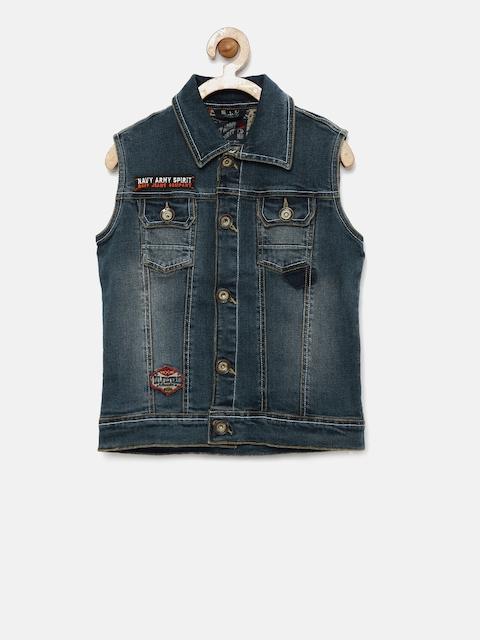 RUFF Boys Blue Solid Denim Jacket