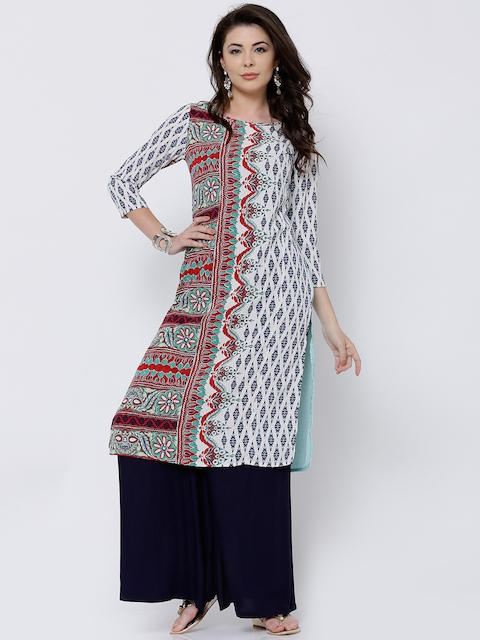 Vishudh Women Red & Off-White Printed Straight Kurta  available at myntra for Rs.359