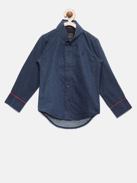 Gini and Jony Boys Blue Slim Fit Self Design Casual Shirt