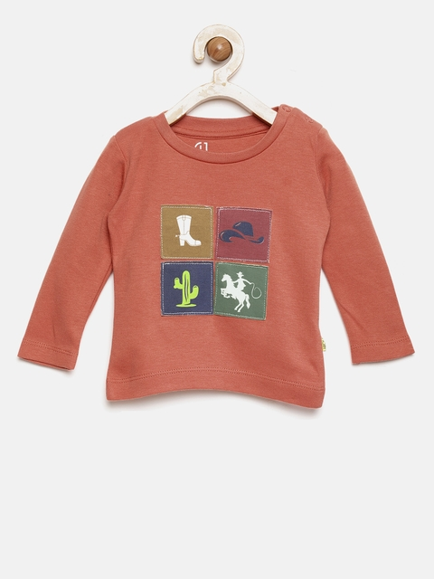 Gini and Jony Boys Rust Orange T-shirt with Patchwork