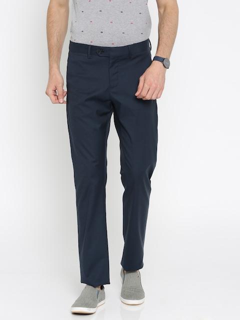 Allen Solly Men Navy Smart Slim Fit Solid Regular Trousers