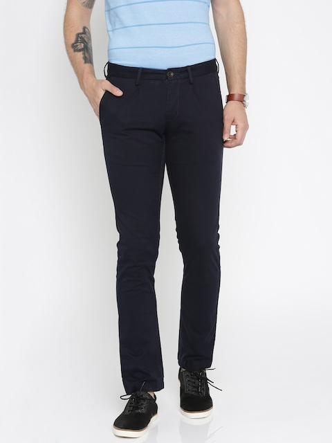 Allen Solly Men Navy Blue Smart Slim Fit Solid Chinos