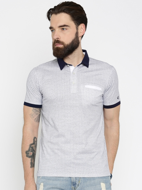 Allen Solly Men White & Navy Printed Polo T-Shirt