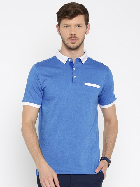 Allen Solly Men Blue Solid Polo Collar T-shirt