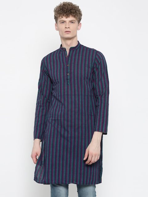 Freehand Men Magenta & Teal Blue Striped Straight Kurta  available at myntra for Rs.359