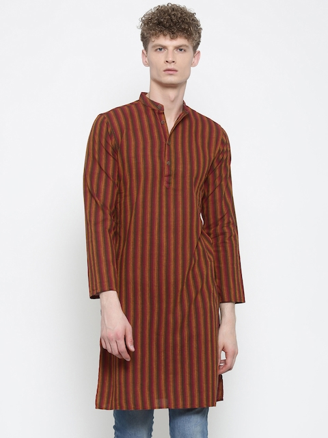 Freehand Men Orange & Red Striped Straight Kurta  available at myntra for Rs.359