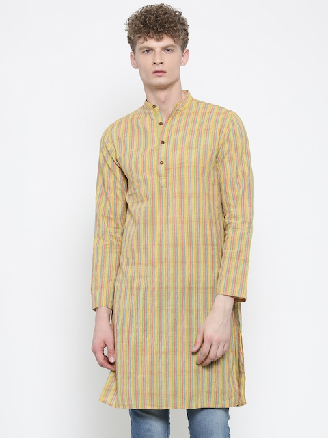 Freehand Men Multicoloured Striped Straight Kurta  available at myntra for Rs.359
