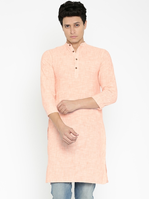 Freehand Men Orange & White Striped Straight Kurta  available at myntra for Rs.359