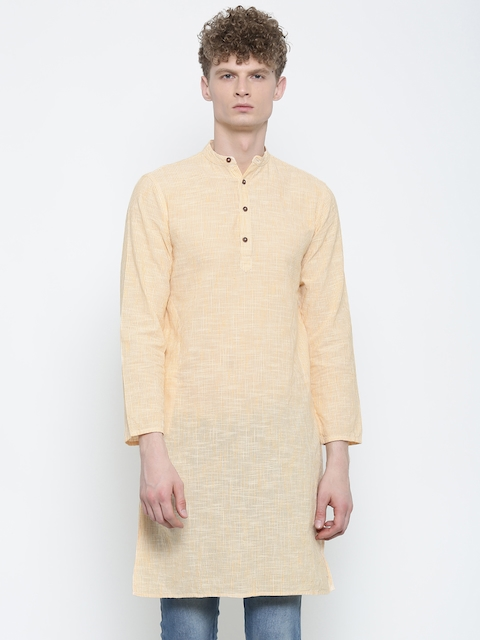 Freehand Men Yellow & Off-White Striped Straight Kurta  available at myntra for Rs.359