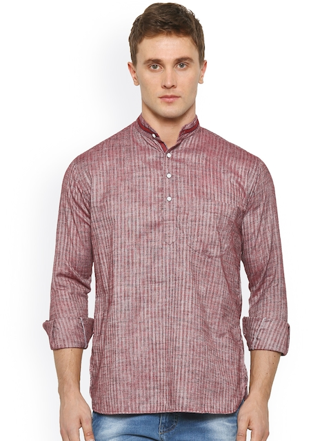 Shaftesbury London Men Maroon & Grey Straight Short Kurta  available at myntra for Rs.799