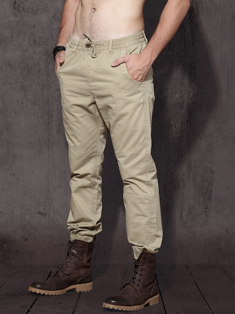 Roadster Men Beige Regular Fit Solid Joggers