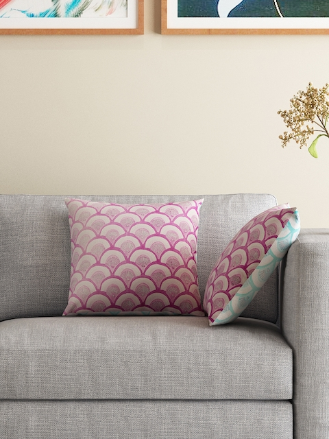 HOUZZCODE Purple & Green Set of 2 Printed 16 x 16 Square Cushion Covers