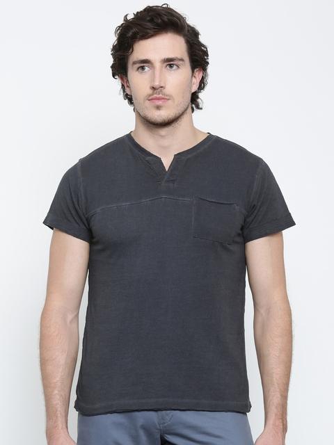American Crew Men Black Solid Round Neck T-shirt