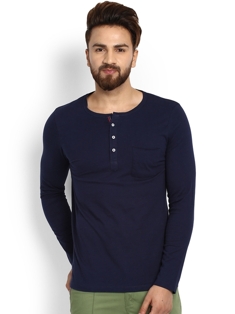 MR BUTTON Men Blue Solid Henley Neck T-shirt