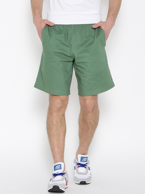 Adidas Men Olive Green ESS COWVN Solid Sports Shorts  available at myntra for Rs.639