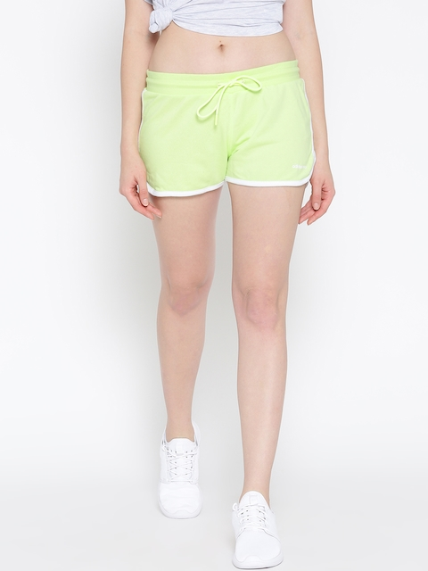 Adidas NEO Women Green Hot Solid Sports Shorts  available at myntra for Rs.679