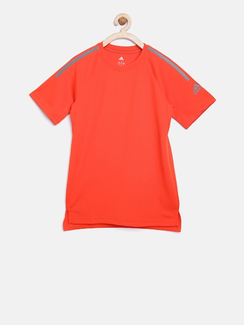 Adidas Boys Orange YB TR Solid Round Neck T-shirt