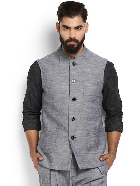 MR BUTTON Grey Melange Nehru Jacket