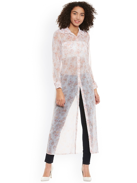 Femella Off-White Floral Print Sheer Tunic  available at myntra for Rs.594